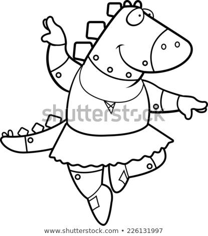 dans · robot · karikatür · konuşma · Retro · düşünme - stok fotoğraf © cthoman