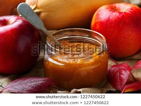 Domowej roboty dynia jabłko masło żywności szkła Zdjęcia stock © zoryanchik