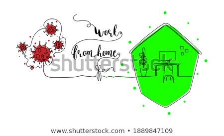 werkplek · computer · schets · interieur · vector · hand - stockfoto © Arkadivna