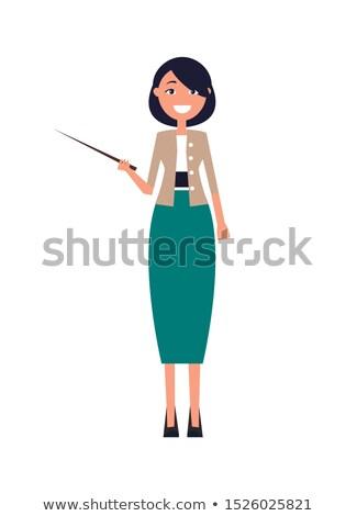 Nő hosszú zöld szoknya kabát kezek Stock fotó © robuart
