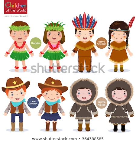 Cartoon Smiling Cowboy Girl Stock photo © cthoman