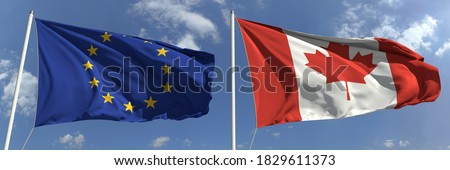 Two waving flags of Canada and EU Stock photo © MikhailMishchenko