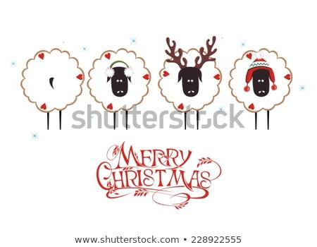 funny christmas sheep cartoon character stock photo © hittoon