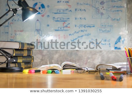 colorful equipment class with typical wooden benches Books and b Stok fotoğraf © snowing