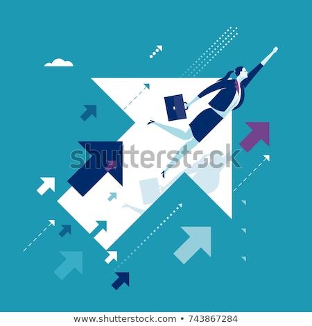 Mujer de negocios vuelo beneficio negocios éxito comercialización Foto stock © Elnur
