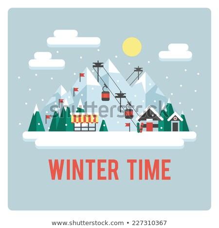 winter sports skiing   flat design style illustration stock photo © decorwithme