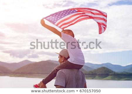 Pai piggyback filho homem diversão retrato Foto stock © Lopolo