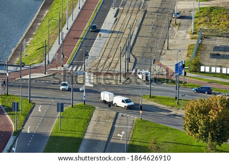 Street of City Center, Car on Road Turning on Side Stock photo © robuart