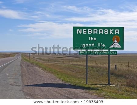 Nebraska otoyol işareti yeşil ABD bulut sokak Stok fotoğraf © kbuntu