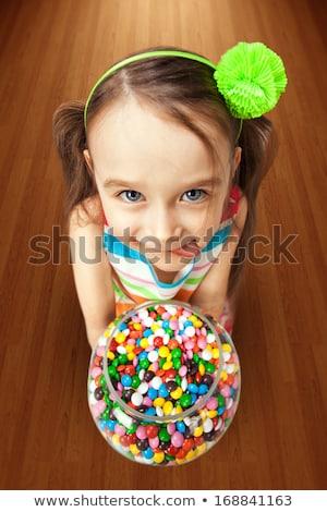少女 · ボウル · キャンディ · 子供 · 眼 · 顔 - ストックフォト © photography33