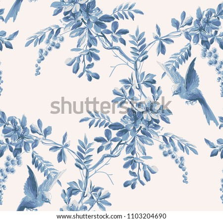 watercolor background with hand drawn bird and plants stock photo © cherju