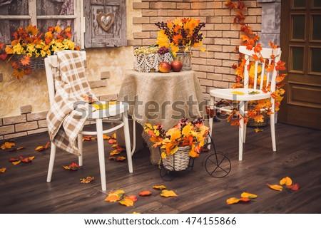 осень · осень · листьев · декоративный · студию · белый - Сток-фото © lunamarina