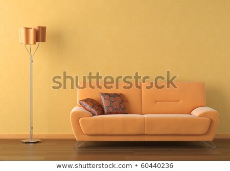 oranje · interieur · scène · moderne · bank · lamp - stockfoto © arquiplay77