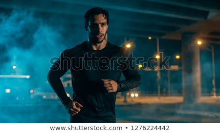 Young people jogging in night city Stock photo © joyr