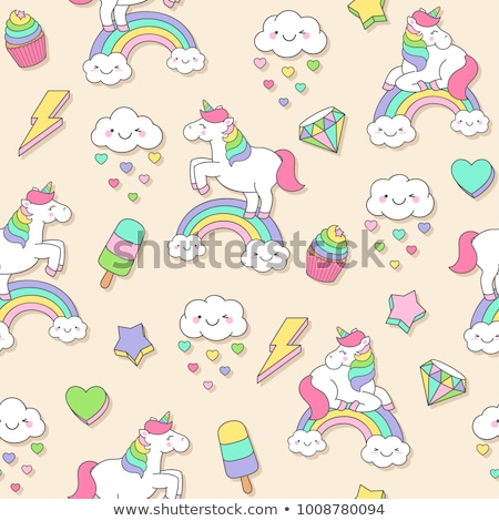 set of seamless patterns cupcakes vector stock photo © blackberryjelly