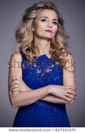 Vonzó szőke nő estélyi ruha fény háttér Stock fotó © Nejron