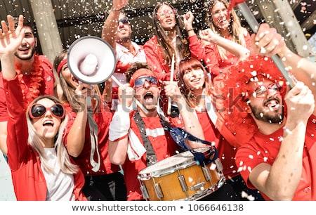 Multidão futebol ventilador três jogadores cachecol Foto stock © Viva