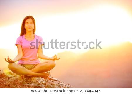 ázsiai modell pózol naplemente szexi kő Stock fotó © Witthaya