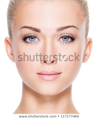 vers · jonge · vrouw · glimlachend · Blauw · shirt · portret - stockfoto © dash