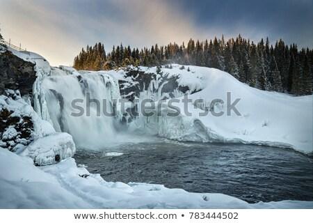 Vízesés Svédország kék folyó park mozgás Stock fotó © mikdam