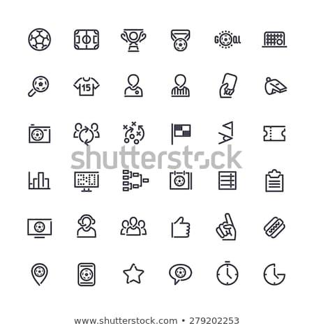 fútbol · campo · de · fútbol · pelota · marcador · establecer · bandera - foto stock © voysla