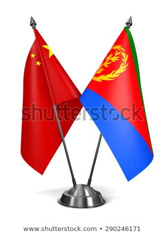 Китай Эритрея миниатюрный флагами изолированный белый Сток-фото © tashatuvango