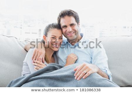 Afetuoso casal sessão sofá cobertor cão Foto stock © wavebreak_media