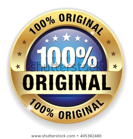 100 por cento original azul vetor ícone Foto stock © rizwanali3d