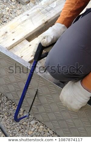 Old metal saw in male hand Stock photo © GeniusKp