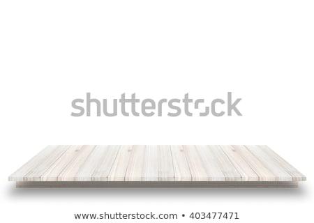 Empty top of natural wood shelve Stock photo © homydesign