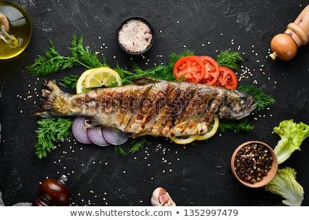 Grelhado truta comida fundo branco Foto stock © Digifoodstock