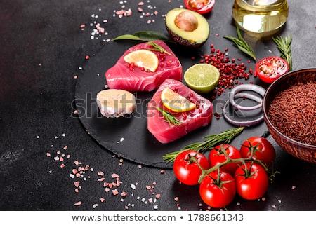 Friss tonhal hús szeletel fehér tányér Stock fotó © dmitroza