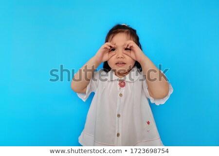 Vicces arc lány látcső fiatal nő készít ujjak Stock fotó © Giulio_Fornasar