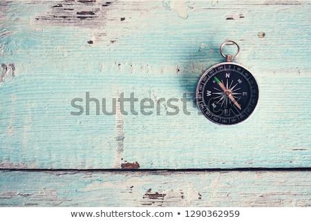 Iránytű fa asztal fémes háttér fém asztal Stock fotó © fuzzbones0
