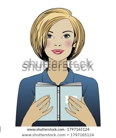 Smiling Woman Holding Bible Closely Isolated White Stock photo © Qingwa