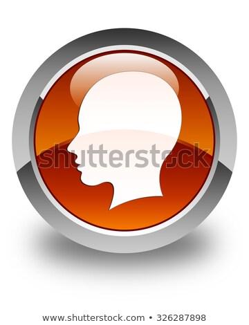 Kadın imzalamak ikon parlak kahverengi düğme Stok fotoğraf © faysalfarhan