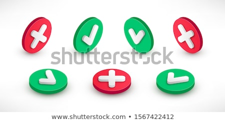 3d illustration of flat buttons red and greean mark isolated white Stock photo © tussik