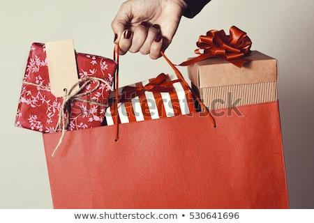 boldog · nő · magasra · tart · bevásárlótáskák · pinup · retró · stílus - stock fotó © vlad_star