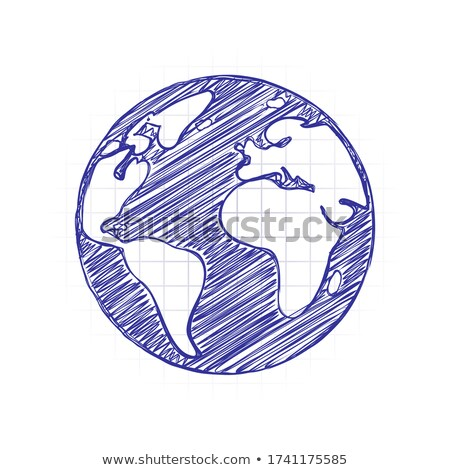 Ink Sketch of a Planet with White Fill Stock photo © cidepix