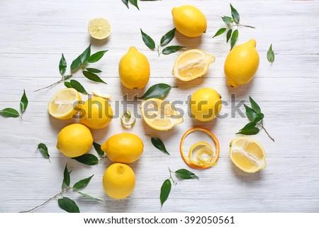 新鮮な · ジューシー · レモン · ボウル · 白 · 木製 - ストックフォト © Digifoodstock