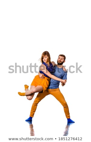 professional artists dancing over white Stock photo © julenochek