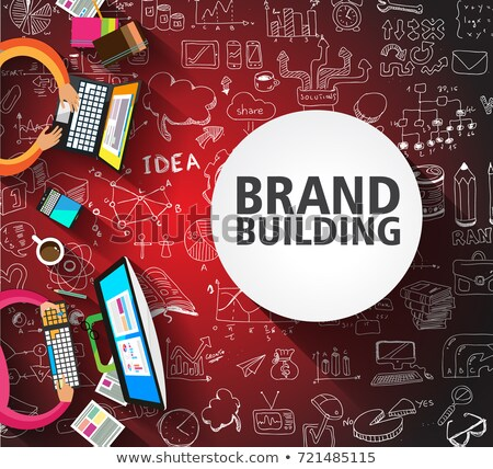 social marketing on dark brick wall stock photo © tashatuvango