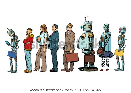 The set of all people. Woman man robot hipster businessman Stock photo © studiostoks