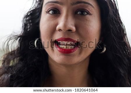 極端な · クローズアップ · 若い女性 · 着用 · 赤い口紅 · 女性 - ストックフォト © monkey_business