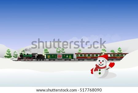 поезд · зима · пейзаж · снега · моста · Панорама - Сток-фото © vichie81