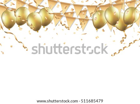 Golden Streamer, Balloons and Confetti Stock photo © -TAlex-