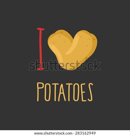 i love potatoes heart of ripe potato vector illustration stock photo © popaukropa