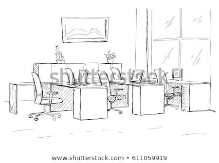 Open Space office. Workplaces outdoors. Tables, chairs. Vector i Stock photo © Arkadivna