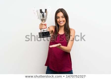 Sport nő tart trófea sikeres fiatal nő Stock fotó © boggy