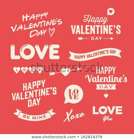 Szeretet ikon valentin nap felirat ünneplés piros Stock fotó © Ecelop